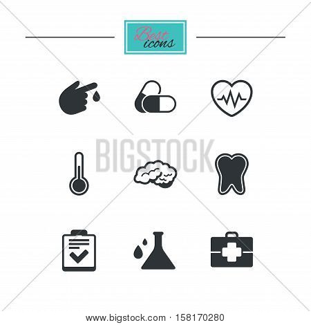 Medicine, healthcare and diagnosis icons. Tooth, pills and doctor case signs. Neurology, blood test symbols. Black flat icons. Classic design. Vector