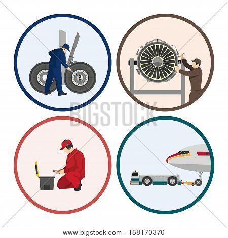 Repair and maintenance of aircraft. Set of images with engineers repairing airplane. Figures in a circle. Vector illustration