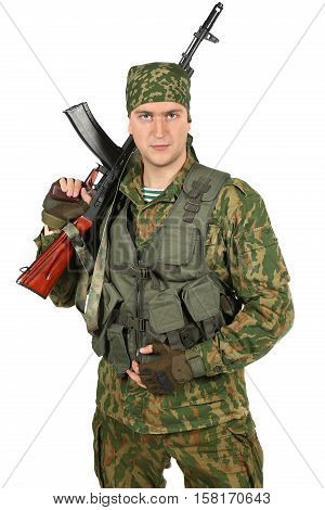Military serviceman with rifle. Portrait. Isolated on white background