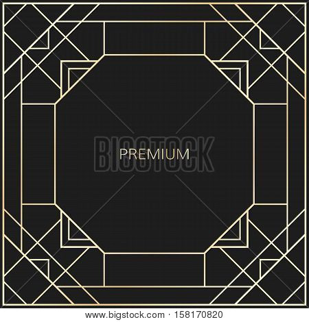 Vector geometric frame in Art Deco style. Square vector abstract element for design. Art Deco border. Light golden vector frame. Premium vector frame in luxury style.