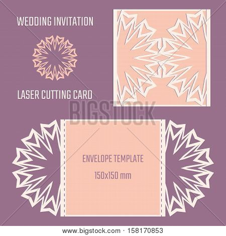 DIY laser cutting vector envelope. Wedding die cut invitation template. Cutout silhouette card. Fretwork envelope. Paper cutting. Scrapbook cutout template. poster