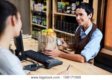 Working in grocery store
