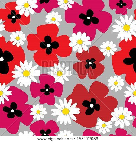 Seamless floral pattern with a poppies and daisies