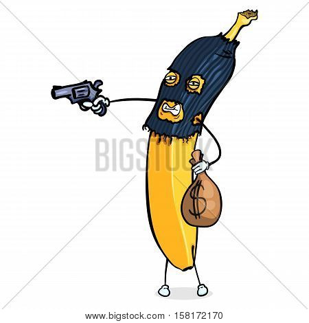 Vector Cartoon Character. Banana Rob the Bank with a Gun on White Background