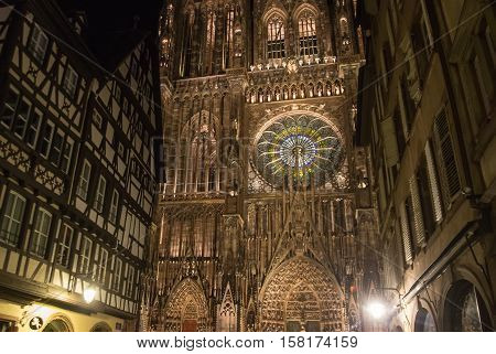 Cathedral of Notre Dame de Strasbourg. The historic center is UNESCO World Heritage Site