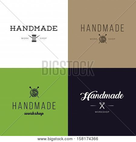 Set of vintage retro handmade badges labels and logo elements retro symbols for local sewing shop knit club handmade artist or knitwear company. Template logo. Vector.