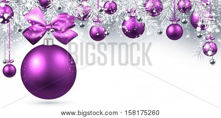 New Year banner with purple Christmas balls. Vector illustration.
