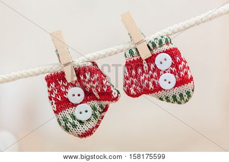 Christmas gifts and decoration mittens close up