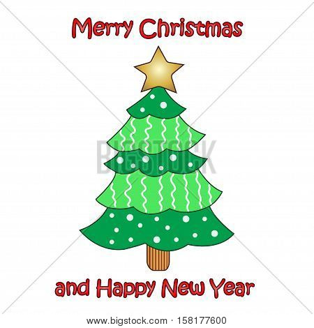 Vector colorful Christmas tree on white background. Design elements for holiday cards.