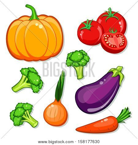 vegetables vector set. Patch, sticker isolated on white background. Cute Pumpkin, carrot, onion, eggplant, broccoli, tomatoes. Vegan healthy eating, vegetarian organic food, diet. Comics cartoon style.