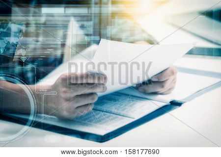 Double Exposure Of Business Man Prepare And Reading For Documents And Graph Business Diagram, Film E