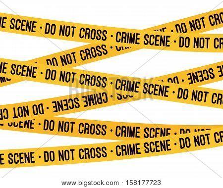 Crime scene yellow tape, police line Do Not Cross tape. Cartoon vector flat-style illustration