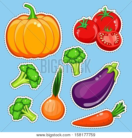 vegetables vector set. Patch, sticker isolated on blue background. Cute Pumpkin, carrot, onion, eggplant, broccoli, tomatoes. Comics cartoon style. Vegan healthy eating, vegetarian organic food, diet.