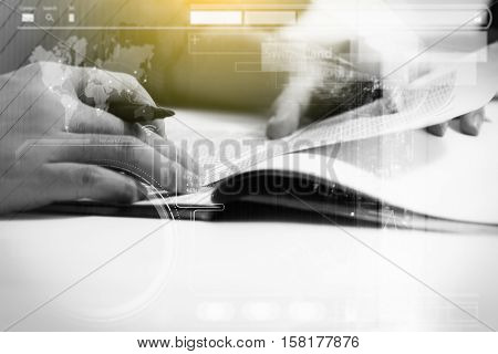 Double Exposure Of Business Man Prepare And Writing For Documents And Graph Business Diagram, Film E