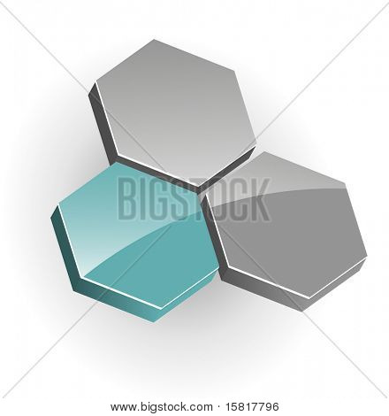 Abstract symbol, hexagons, green and grey