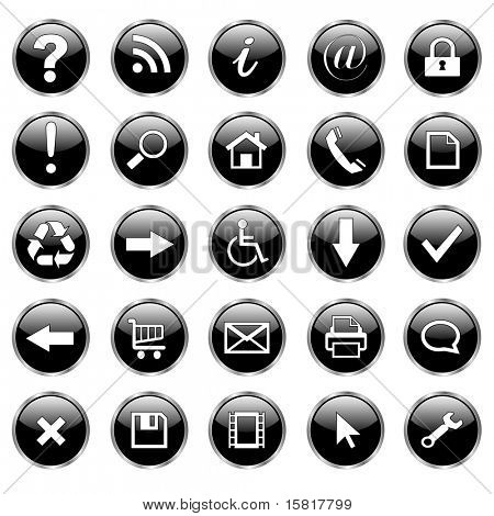 Set of 25 shiny, web buttons, icons - black glass.