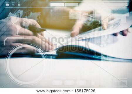 Double exposure of business people prepare and reading for documents and graph business diagram, film effect and business concept, copy space, mock up..