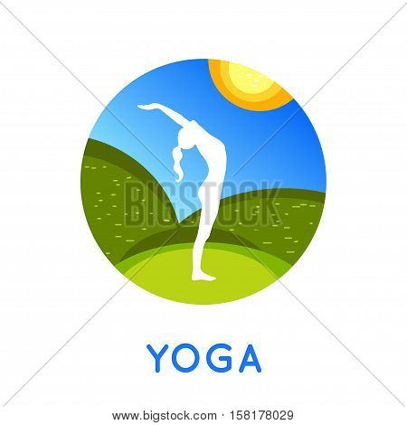 Vector yoga concept illustration. Young woman in yoga pose. Yoga silhouette on a natural flat background. Yoga poster or yoga card in trendy style. Yoga day design.