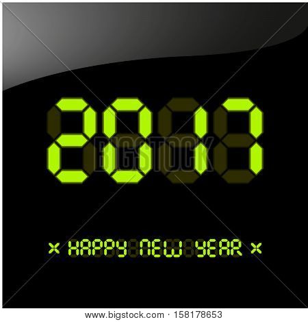 Vector illustration. Happy New Year 2017 greeting card. New year poster greeting card banner or party invitation. Number 2017 on a digital liquid crystal display. Font bright colored green version.