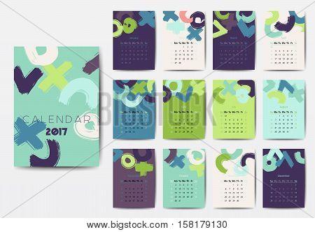 Geometric 2017 year calendar in bright colors