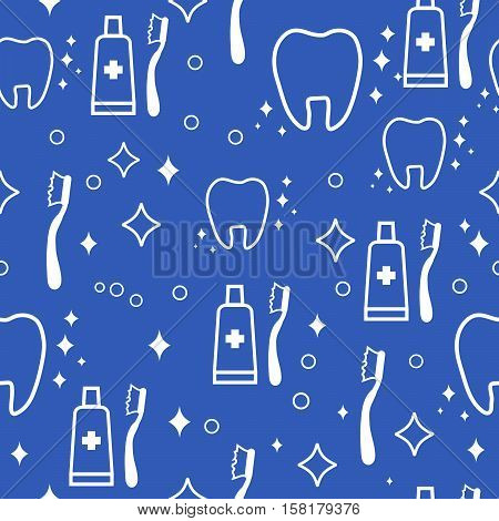 dental seamless pattern. white teeth and toothbrush and toothpaste on blue background