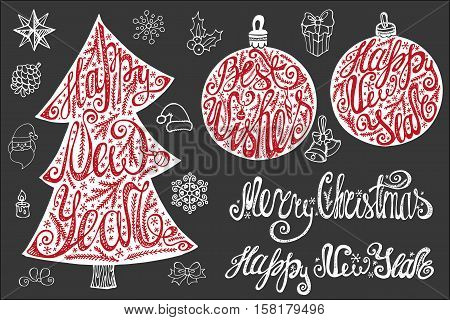 Christmas, New year tree and balls shape with lettering, handwriting title , decoration.Christmas Vintage vector, isolated on background.