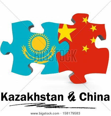 China And Kazakhstan Flags In Puzzle