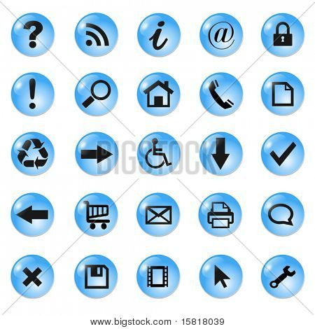 Set of shiny, button icons, blue glass, vector.