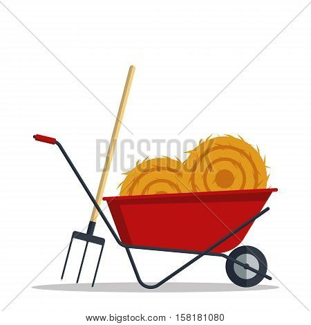 Red flat gardening wheelbarrow with hay and pitchfork isolated on white background. Tool constraction farming wheel icon equipment