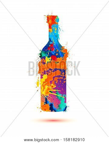 Wine bottle. Vector watercolor multicolored splash paint