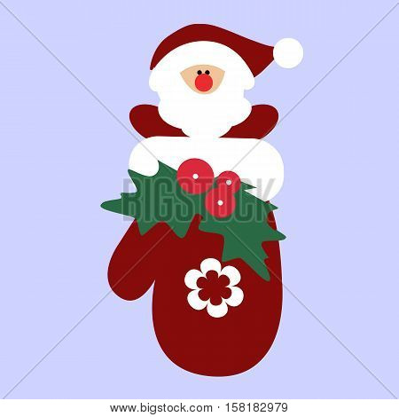 cute baby holiday Christmas Santa gnome inside the mitten. Template for greeting card or a poster. Christmas vector illustration. Baby shower