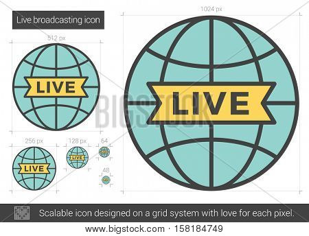 Live broadcasting vector line icon isolated on white background. Live broadcasting line icon for infographic, website or app. Scalable icon designed on a grid system.