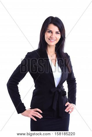 Portrait of happy young business woman isolated on white background.photo has a empty space for your text.