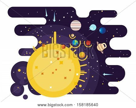 Solar system flat style. Venus mars saturn jupiter uranus neptune mercury moon pluto and earth. Vector illustration