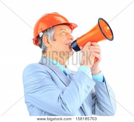 Good engineer gives guidance through the mouthpiece. Isolated on a white background.