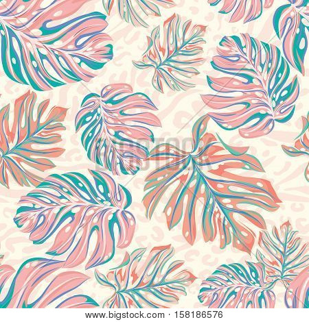 seamless animal tropical pattern. exotic leaf, trendy faded washed colors and illustrations. animal pattern background, leo skin.