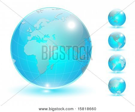 Earth globe, transparent crystal different views vector.
