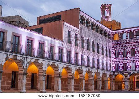 High square at sunset illuminated by led lights Badajoz Spain (Plaza Alta)