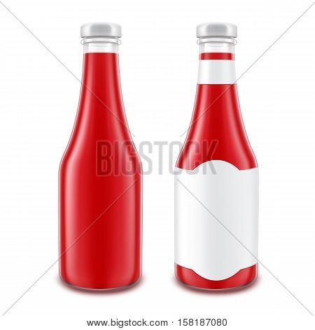 Vector Set of Blank Glass Red Tomato Ketchup Bottle for Branding without with White Label Isolated on White Background