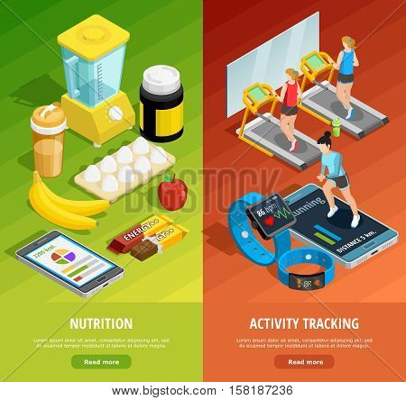 Colorful gym isometric vertical banners with healthy lifestyle activities and proper eating vector illustration