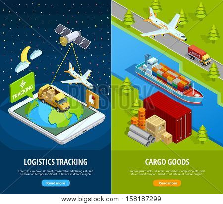 Delivery isometric vertical banners with logistic means of tracking and different types of transport vector illustration