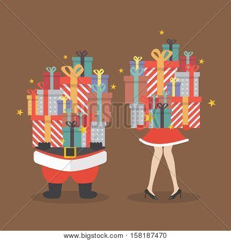 Santa claus and Santa woman holding a pile of gift boxes. vector illustration