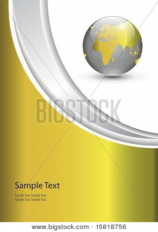 Business gold background with world globe, vector illustration.