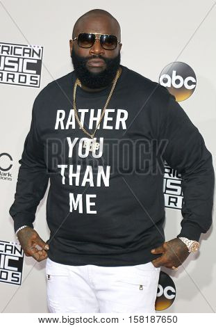 Rick Ross at the 2016 American Music Awards held at the Microsoft Theater in Los Angeles, USA on November 20, 2016.