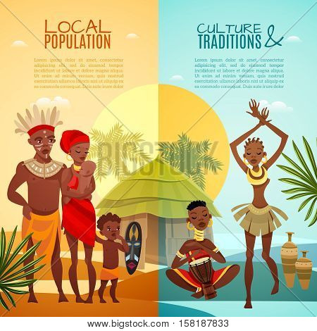 African tribal traditions customs rituals and family life 2 flat vertical banners set isolated vector illustration