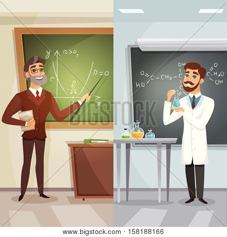 School lessons cartoon vertical banners with teachers of mathematics and chemistry in flat style vector illustration