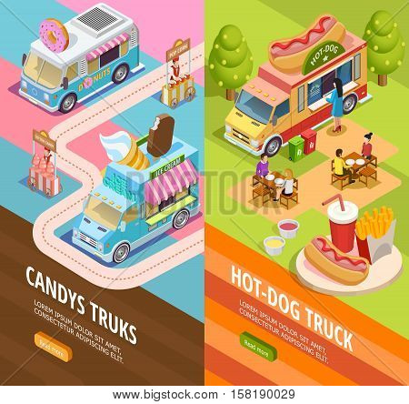 Street food candy and hotdogs trucks in attraction park 2 isometric vertical banners webpage design isolated vector illustration