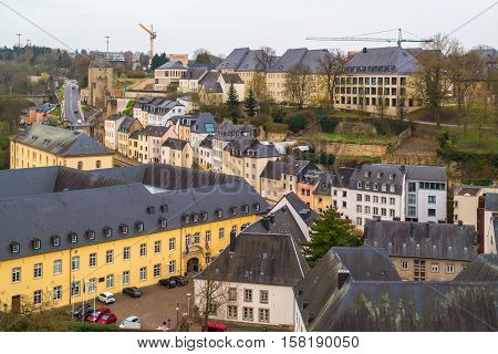 Top view on the part of old town of Luxembourg City (UNESCO World Heritage). Luxembourg City, Luxembourg (Grand Duchy of Luxembourg) - April 3 2016.