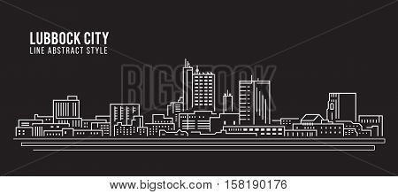Cityscape Building Line art Vector Illustration design - Lubbock city