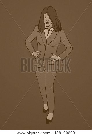 Business woman vintage image of finance worker